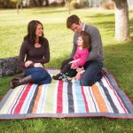JJ Cole Outdoor Blanket, Gray/Red, 5′ x 5′