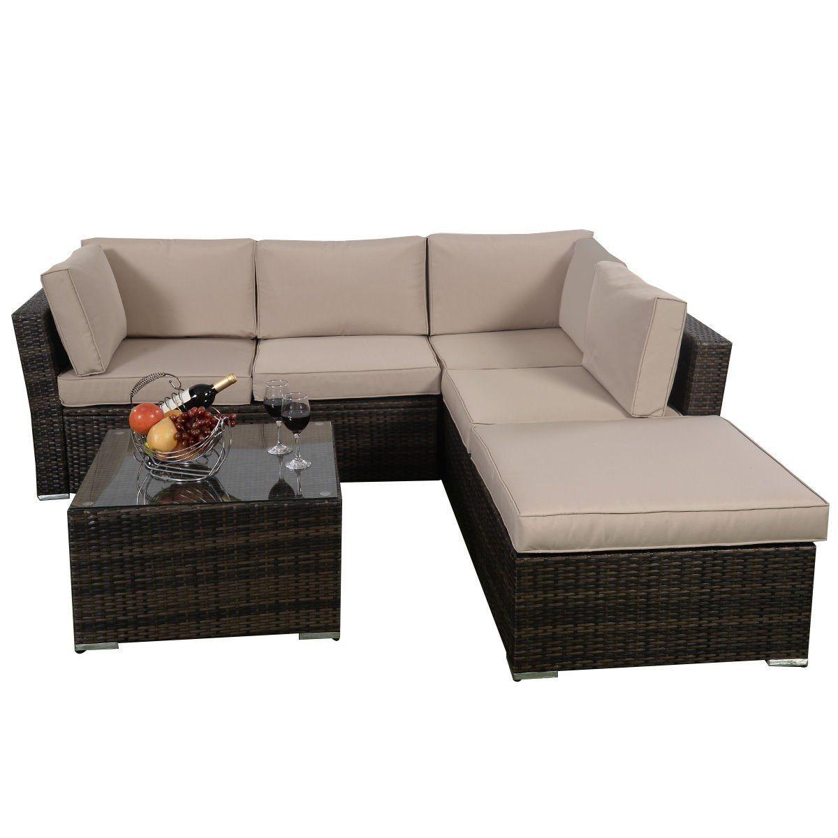 Giantex 4pc patio sectional furniture pe wicker rattan for Sofa exterior amazon