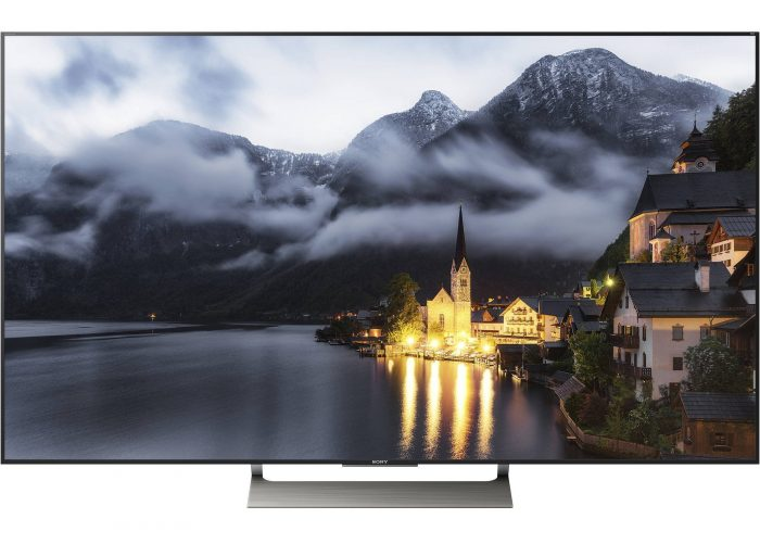 picture of a Sony XBR55 X900E TV with a white background behind it
